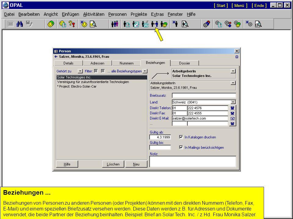 Automatisch eingetragene Felder und Optionen...