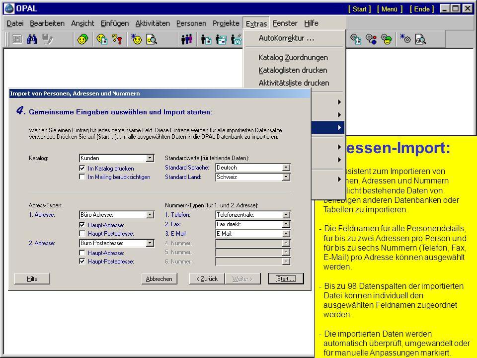 Datenexport: - Das Menü 'Export /... enthält Funktionen zum Export ausgewählter Daten in Microsoft Excel Dateien oder in Text Dateien.