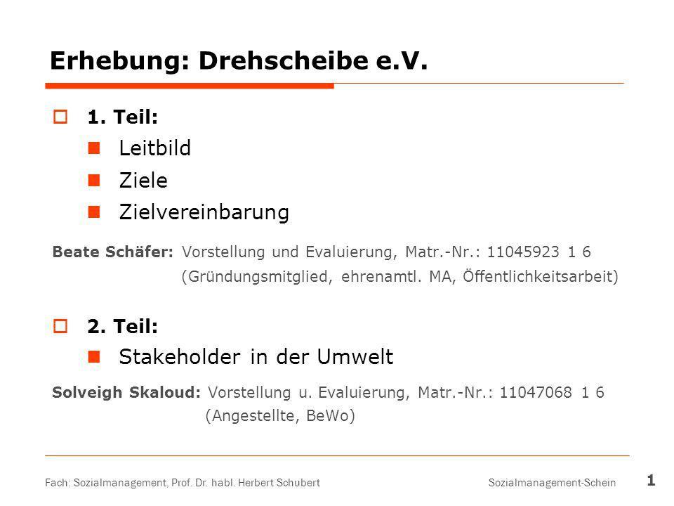 Fach: Sozialmanagement, Prof. Dr. habl. Herbert Schubert Sozialmanagement-Schein 1 Erhebung: Drehscheibe e.V.  1. Teil: Leitbild Ziele Zielvereinbaru