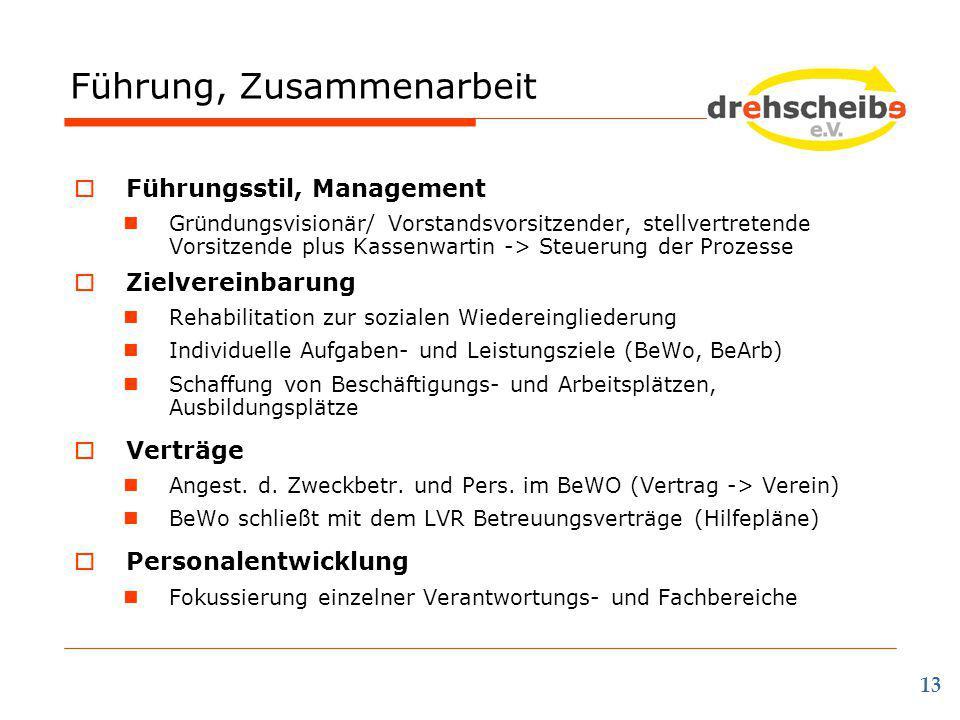 Führung, Zusammenarbeit 13  Führungsstil, Management Gründungsvisionär/ Vorstandsvorsitzender, stellvertretende Vorsitzende plus Kassenwartin -> Steu