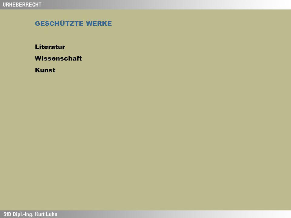GESCHÜTZTE WERKE Literatur Wissenschaft Kunst