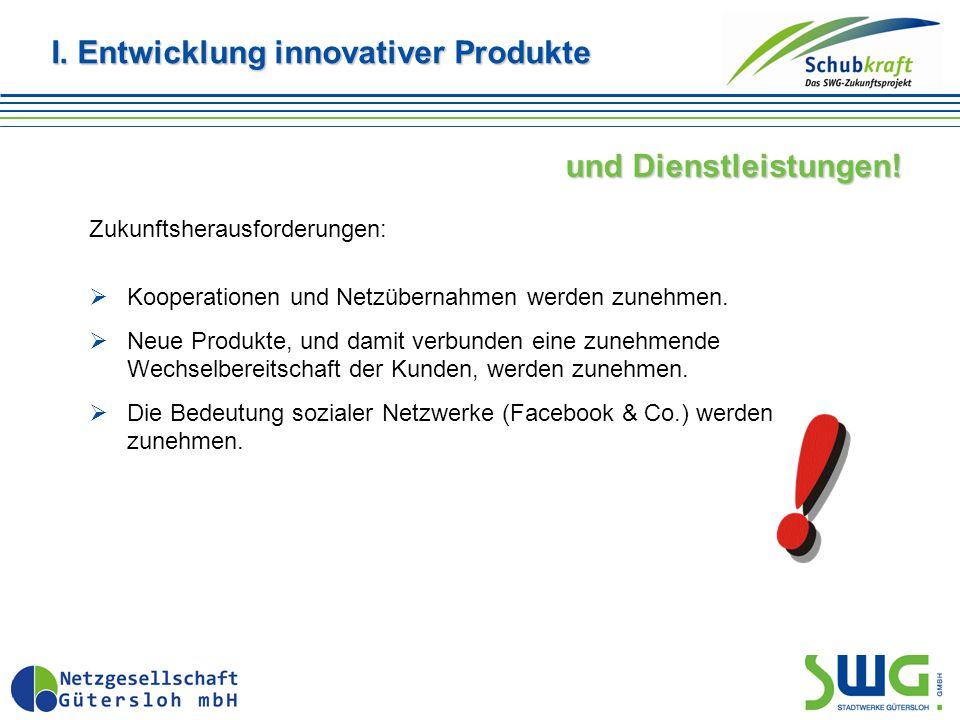 I. Entwicklung innovativer Produkte und Dienstleistungen! Zukunftsherausforderungen:  Kooperationen und Netzübernahmen werden zunehmen.  Neue Produk