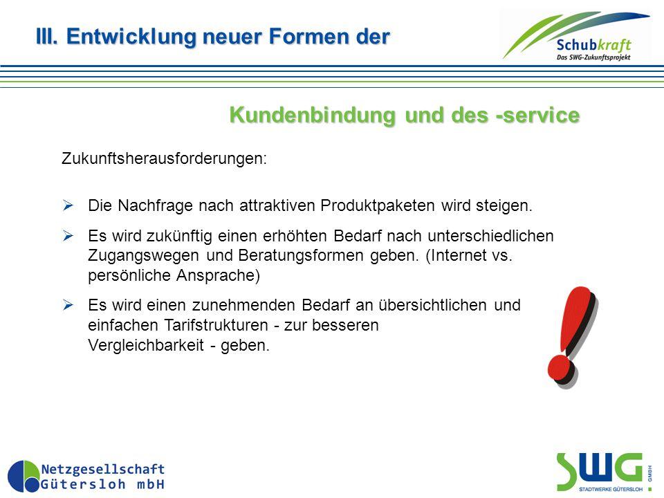 III. Entwicklung neuer Formen der Kundenbindung und des -service Zukunftsherausforderungen:  Die Nachfrage nach attraktiven Produktpaketen wird steig