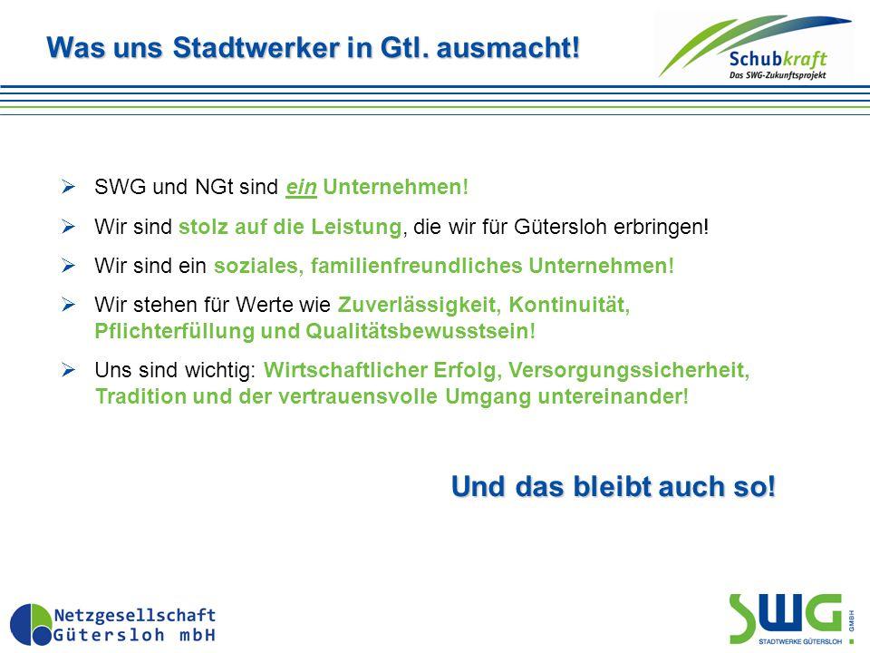 Was uns Stadtwerker in Gtl. ausmacht.  SWG und NGt sind ein Unternehmen.