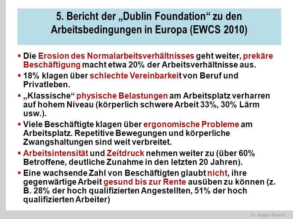 """Dr. Jürgen Reusch 5. Bericht der """"Dublin Foundation"""" zu den Arbeitsbedingungen in Europa (EWCS 2010)  Die Erosion des Normalarbeitsverhältnisses geht"""