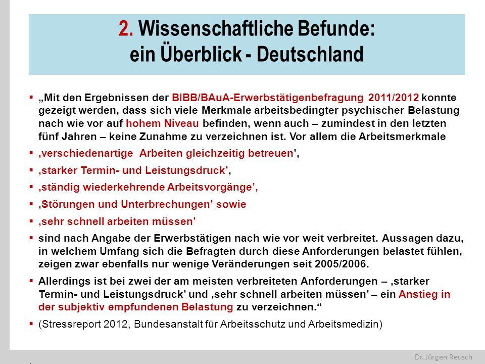 """Dr. Jürgen Reusch 2. Wissenschaftliche Befunde: ein Überblick - Deutschland  """"Mit den Ergebnissen der BIBB/BAuA-Erwerbstätigenbefragung 2011/2012 kon"""