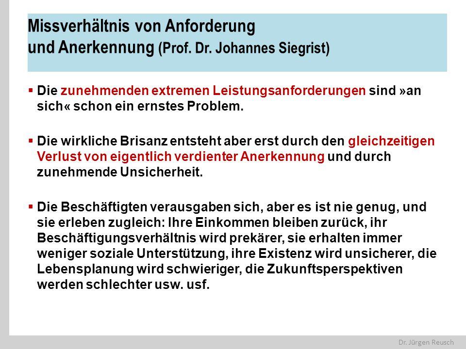 Dr. Jürgen Reusch Missverhältnis von Anforderung und Anerkennung (Prof. Dr. Johannes Siegrist)  Die zunehmenden extremen Leistungsanforderungen sind