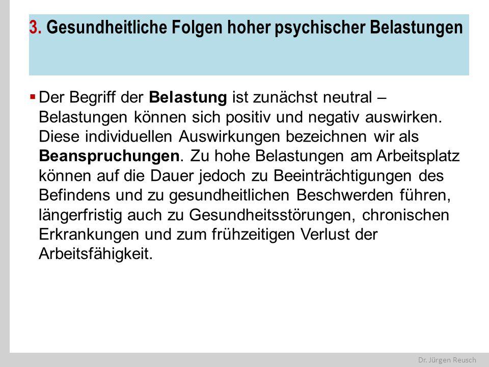 Dr. Jürgen Reusch 3. Gesundheitliche Folgen hoher psychischer Belastungen  Der Begriff der Belastung ist zunächst neutral – Belastungen können sich p
