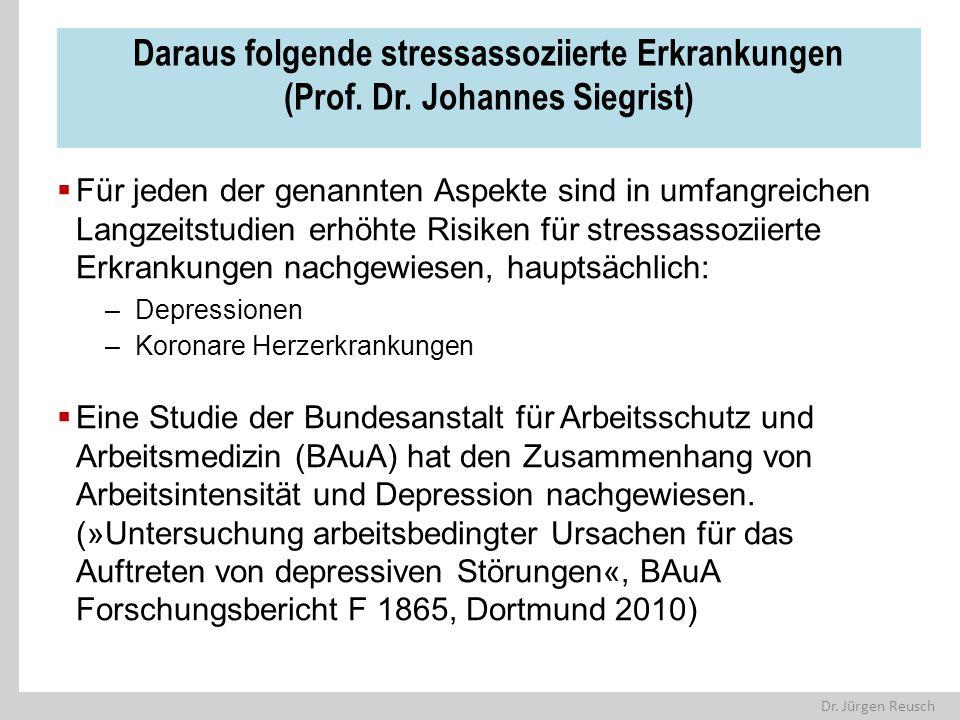 Dr. Jürgen Reusch Daraus folgende stressassoziierte Erkrankungen (Prof. Dr. Johannes Siegrist)  Für jeden der genannten Aspekte sind in umfangreichen