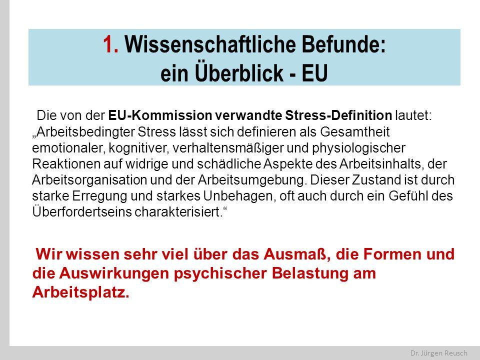 """Dr. Jürgen Reusch 1. Wissenschaftliche Befunde: ein Überblick - EU Die von der EU-Kommission verwandte Stress-Definition lautet: """"Arbeitsbedingter Str"""