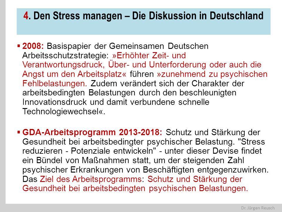 Dr. Jürgen Reusch 4. Den Stress managen – Die Diskussion in Deutschland  2008: Basispapier der Gemeinsamen Deutschen Arbeitsschutzstrategie: »Erhöhte
