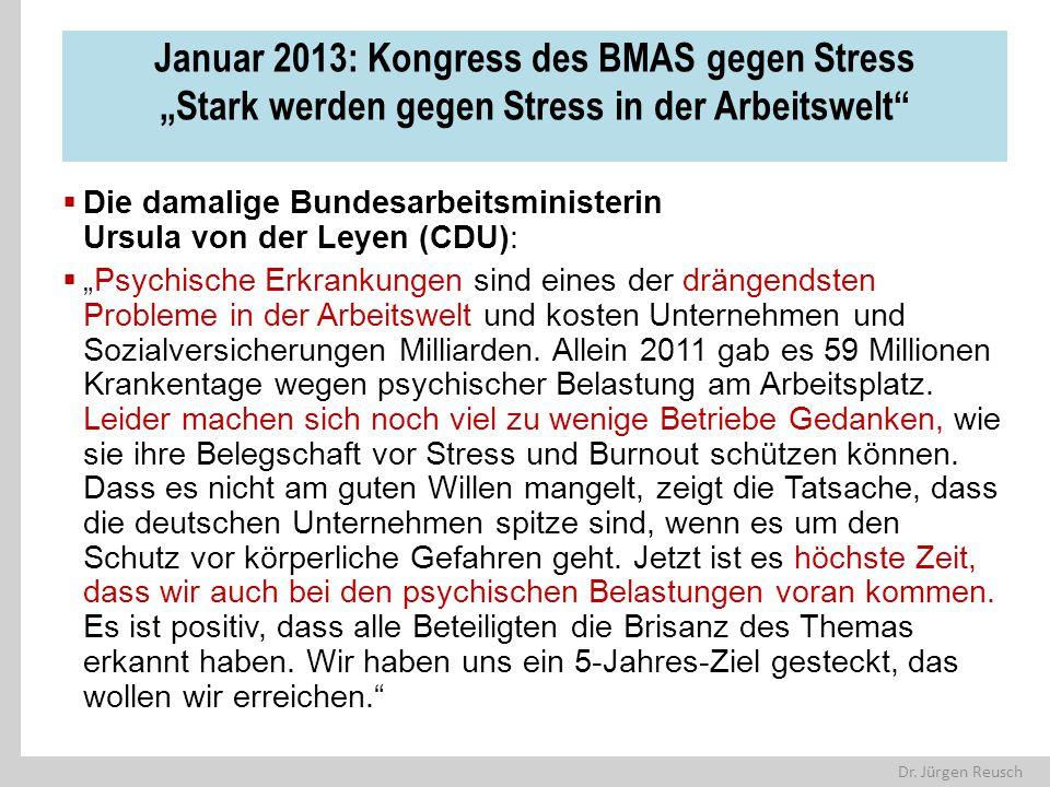 """Dr. Jürgen Reusch Januar 2013: Kongress des BMAS gegen Stress """"Stark werden gegen Stress in der Arbeitswelt""""  Die damalige Bundesarbeitsministerin Ur"""