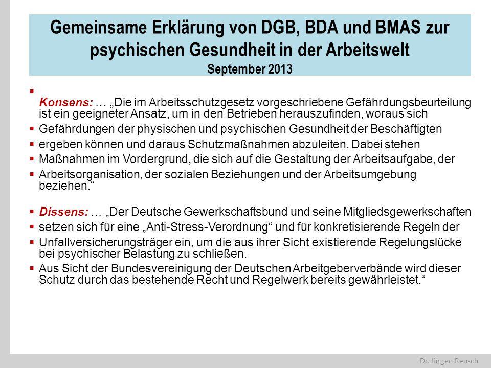 """Dr. Jürgen Reusch Gemeinsame Erklärung von DGB, BDA und BMAS zur psychischen Gesundheit in der Arbeitswelt September 2013  Konsens: … """"Die im Arbeits"""