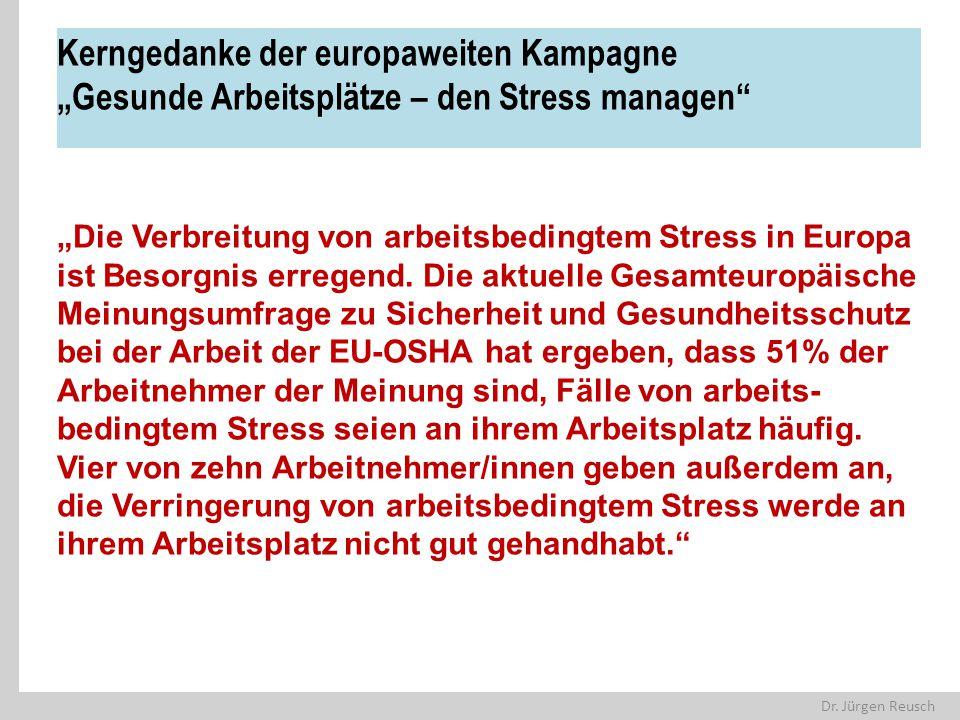 """Dr. Jürgen Reusch Kerngedanke der europaweiten Kampagne """"Gesunde Arbeitsplätze – den Stress managen"""" """"Die Verbreitung von arbeitsbedingtem Stress in E"""