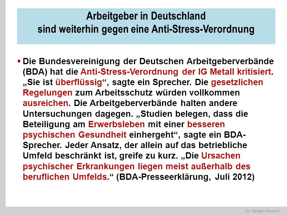 Dr. Jürgen Reusch Arbeitgeber in Deutschland sind weiterhin gegen eine Anti-Stress-Verordnung  Die Bundesvereinigung der Deutschen Arbeitgeberverbänd