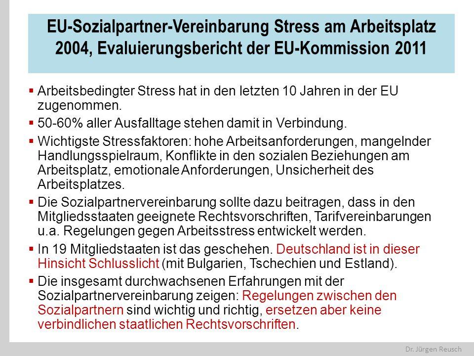 Dr. Jürgen Reusch EU-Sozialpartner-Vereinbarung Stress am Arbeitsplatz 2004, Evaluierungsbericht der EU-Kommission 2011  Arbeitsbedingter Stress hat