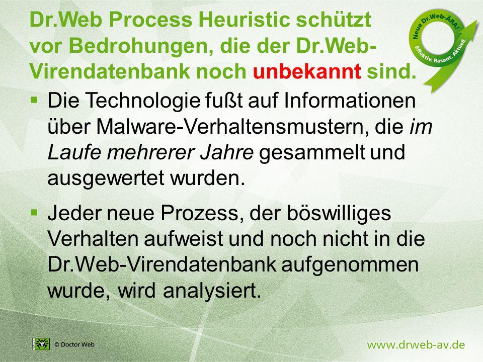 Dr.Web Process Heuristic schützt vor Bedrohungen, die der Dr.Web- Virendatenbank noch unbekannt sind.