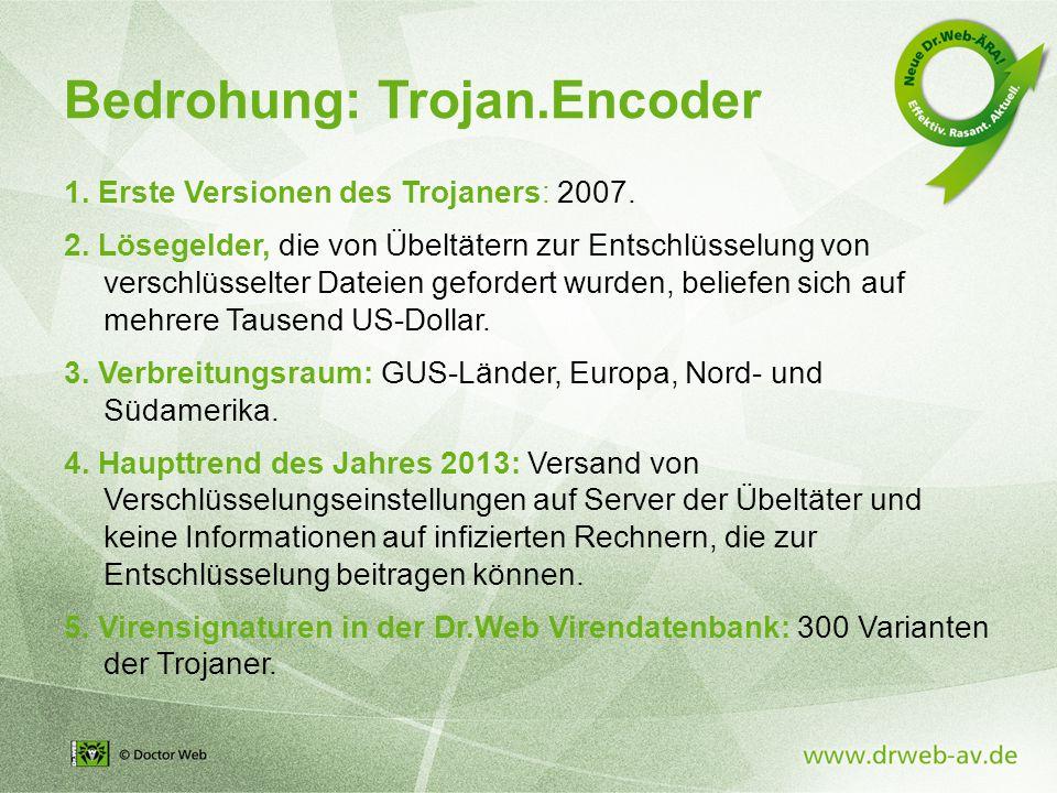 Bedrohung: Trojan.Encoder 1. Erste Versionen des Trojaners: 2007.