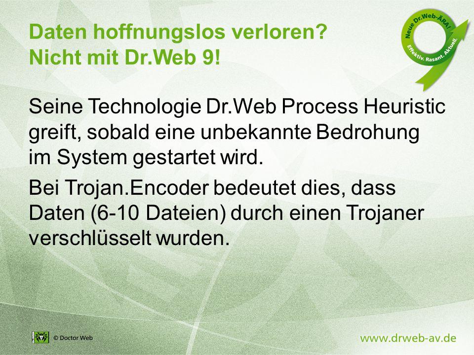Daten hoffnungslos verloren. Nicht mit Dr.Web 9.