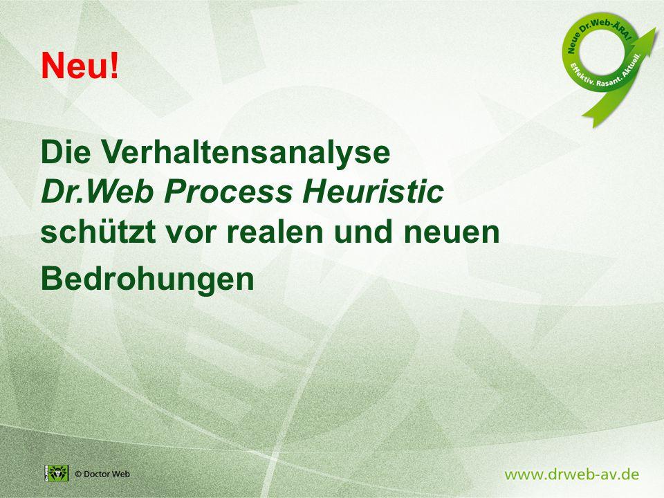 Neu! Die Verhaltensanalyse Dr.Web Process Heuristic schützt vor realen und neuen Bedrohungen