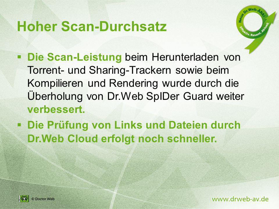 Hoher Scan-Durchsatz  Die Scan-Leistung beim Herunterladen von Torrent- und Sharing-Trackern sowie beim Kompilieren und Rendering wurde durch die Überholung von Dr.Web SpIDer Guard weiter verbessert.