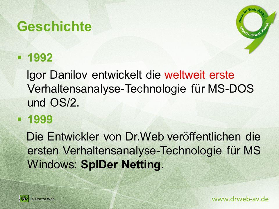 Geschichte  1992 Igor Danilov entwickelt die weltweit erste Verhaltensanalyse-Technologie für MS-DOS und OS/2.