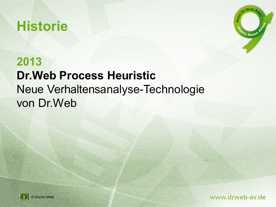 2013 Dr.Web Process Heuristic Neue Verhaltensanalyse-Technologie von Dr.Web Historie