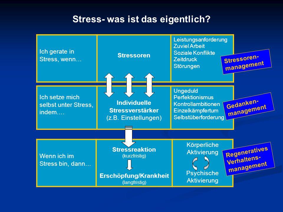 Ich gerate in Stress, wenn… Stressoren Leistungsanforderung Zuviel Arbeit Soziale Konflikte Zeitdruck Störungen Ich setze mich selbst unter Stress, indem….