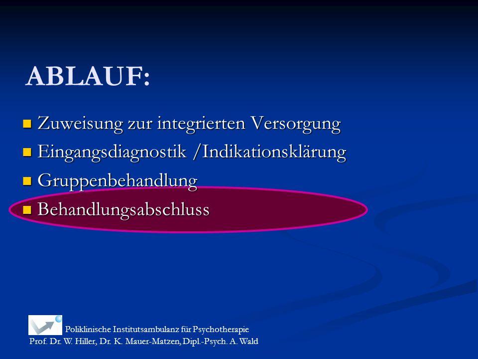 ABLAUF: Zuweisung zur integrierten Versorgung Zuweisung zur integrierten Versorgung Eingangsdiagnostik /Indikationsklärung Eingangsdiagnostik /Indikat