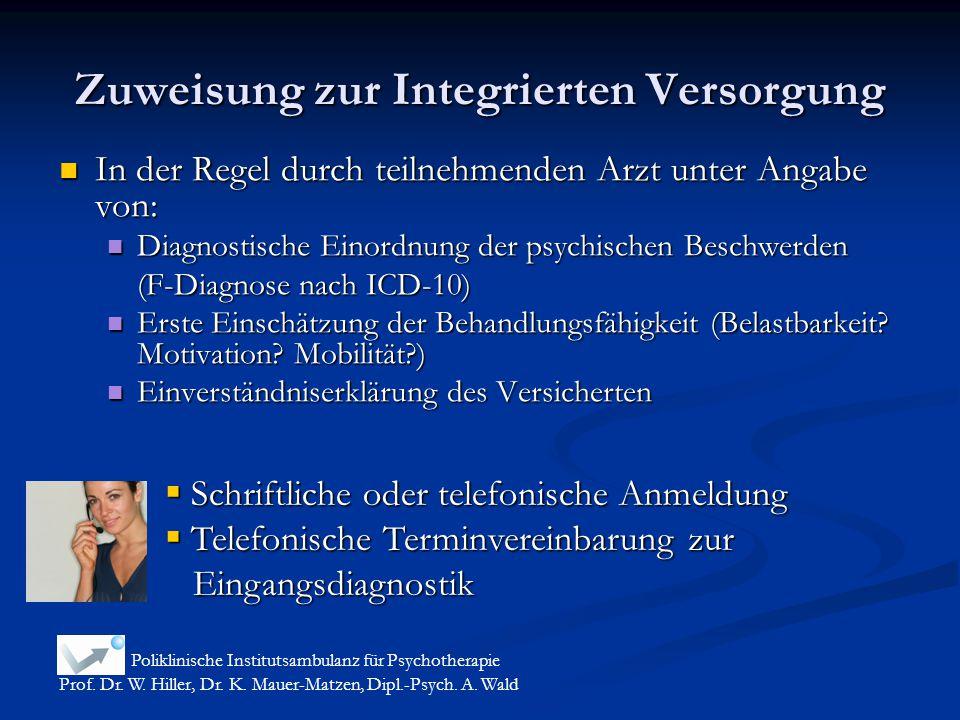 Zuweisung zur Integrierten Versorgung In der Regel durch teilnehmenden Arzt unter Angabe von: In der Regel durch teilnehmenden Arzt unter Angabe von: