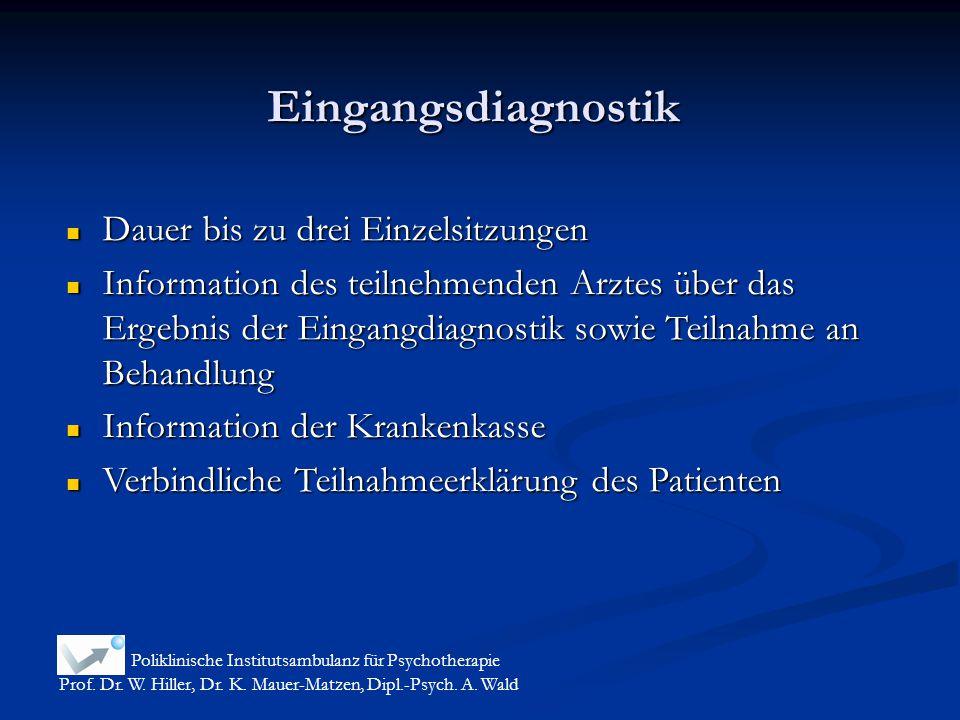 Eingangsdiagnostik Poliklinische Institutsambulanz für Psychotherapie Prof. Dr. W. Hiller, Dr. K. Mauer-Matzen, Dipl.-Psych. A. Wald Dauer bis zu drei