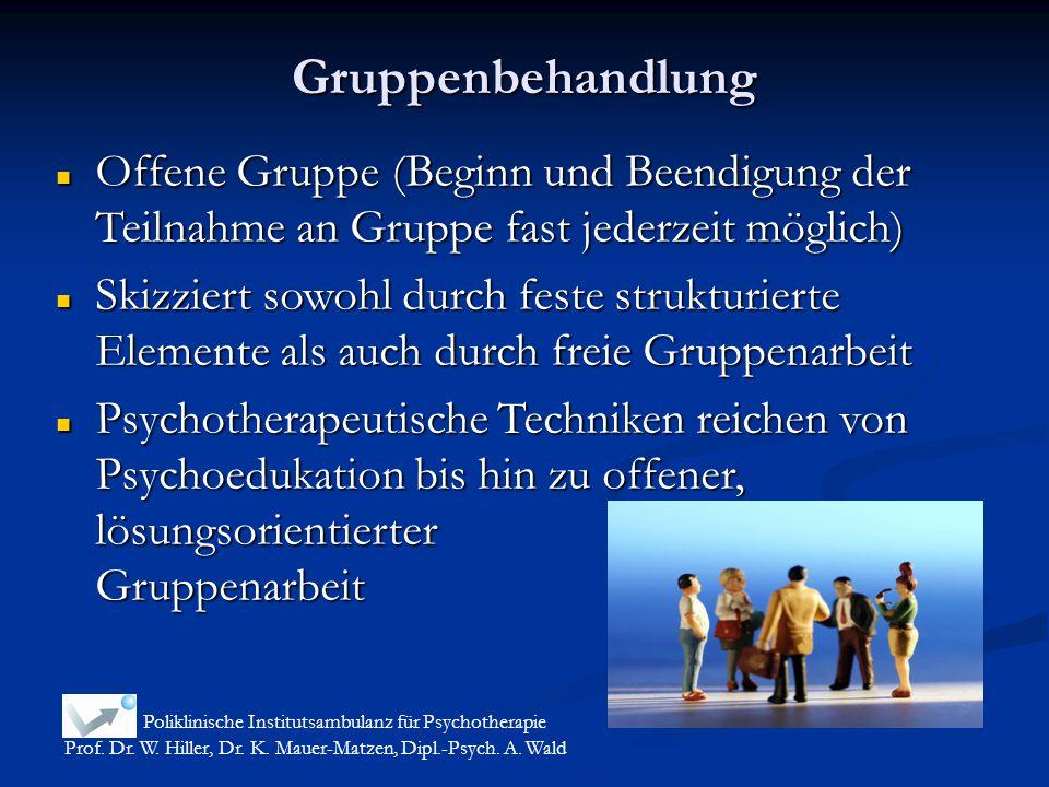 Gruppenbehandlung Poliklinische Institutsambulanz für Psychotherapie Prof. Dr. W. Hiller, Dr. K. Mauer-Matzen, Dipl.-Psych. A. Wald Offene Gruppe (Beg