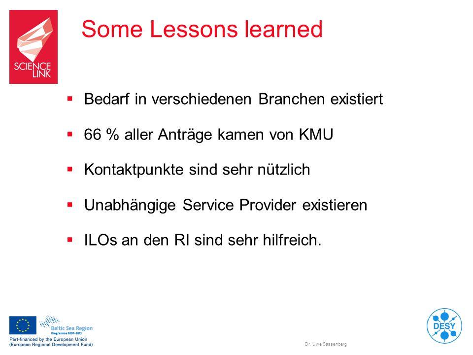 Dr. Uwe Sassenberg Some Lessons learned  Bedarf in verschiedenen Branchen existiert  66 % aller Anträge kamen von KMU  Kontaktpunkte sind sehr nütz
