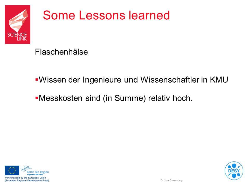 Dr. Uwe Sassenberg Some Lessons learned Flaschenhälse  Wissen der Ingenieure und Wissenschaftler in KMU  Messkosten sind (in Summe) relativ hoch.