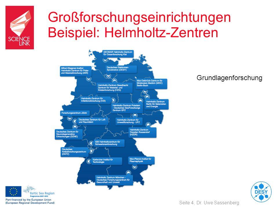 Großforschungseinrichtungen Beispiel: Helmholtz-Zentren Seite 4, Dr. Uwe Sassenberg Grundlagenforschung