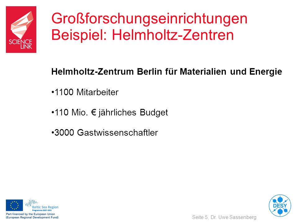 Großforschungseinrichtungen Beispiel: Helmholtz-Zentren Seite 5, Dr. Uwe Sassenberg Helmholtz-Zentrum Berlin für Materialien und Energie 1100 Mitarbei