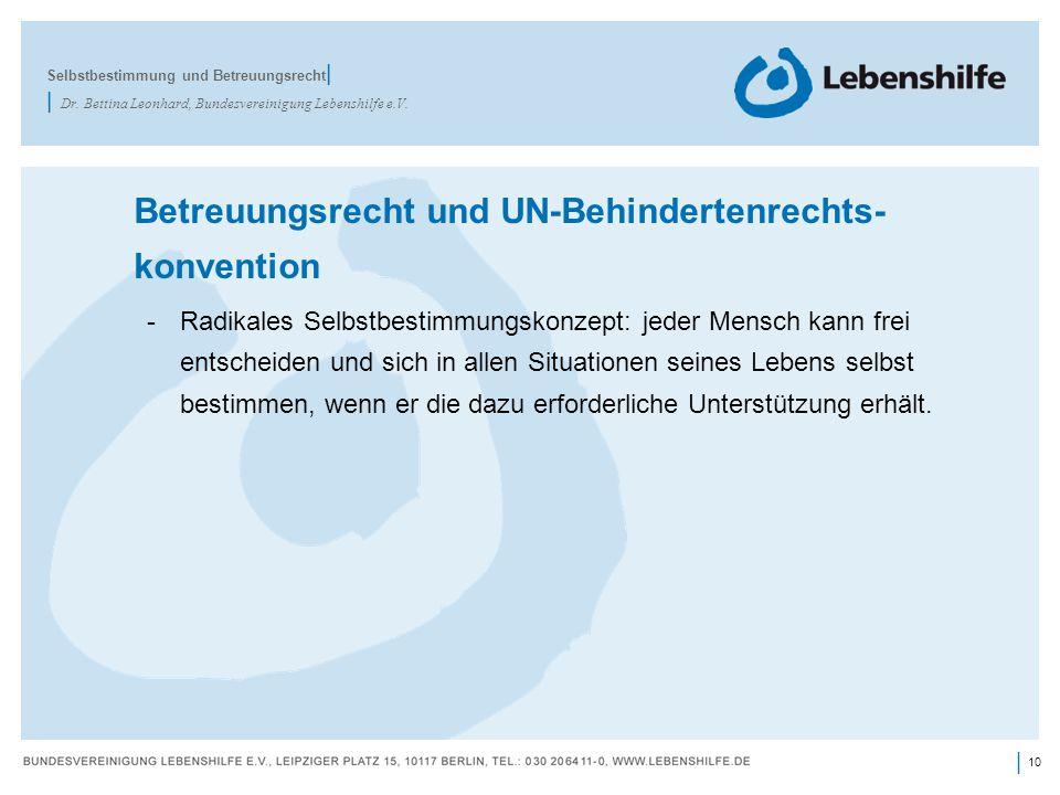 10 | Betreuungsrecht und UN-Behindertenrechts- konvention -Radikales Selbstbestimmungskonzept: jeder Mensch kann frei entscheiden und sich in allen Si