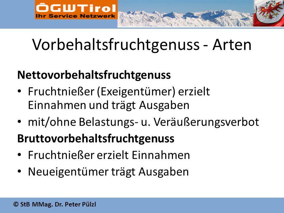© StB MMag. Dr. Peter Pülzl Vorbehaltsfruchtgenuss - Arten Nettovorbehaltsfruchtgenuss Fruchtnießer (Exeigentümer) erzielt Einnahmen und trägt Ausgabe