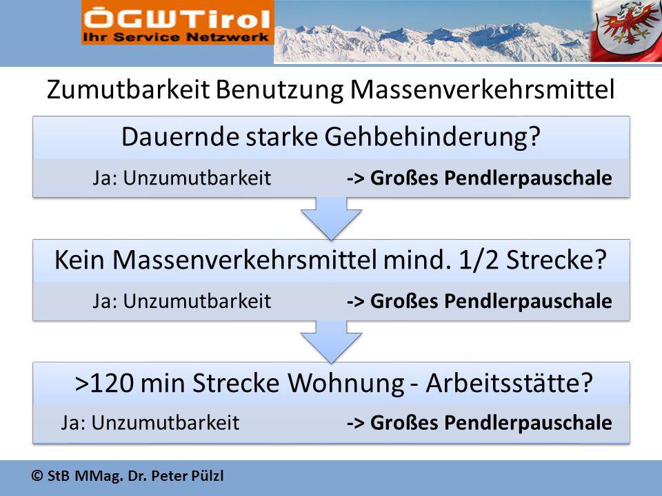 © StB MMag. Dr. Peter Pülzl Zumutbarkeit Benutzung Massenverkehrsmittel >120 min Strecke Wohnung - Arbeitsstätte? Ja: Unzumutbarkeit-> Großes Pendlerp