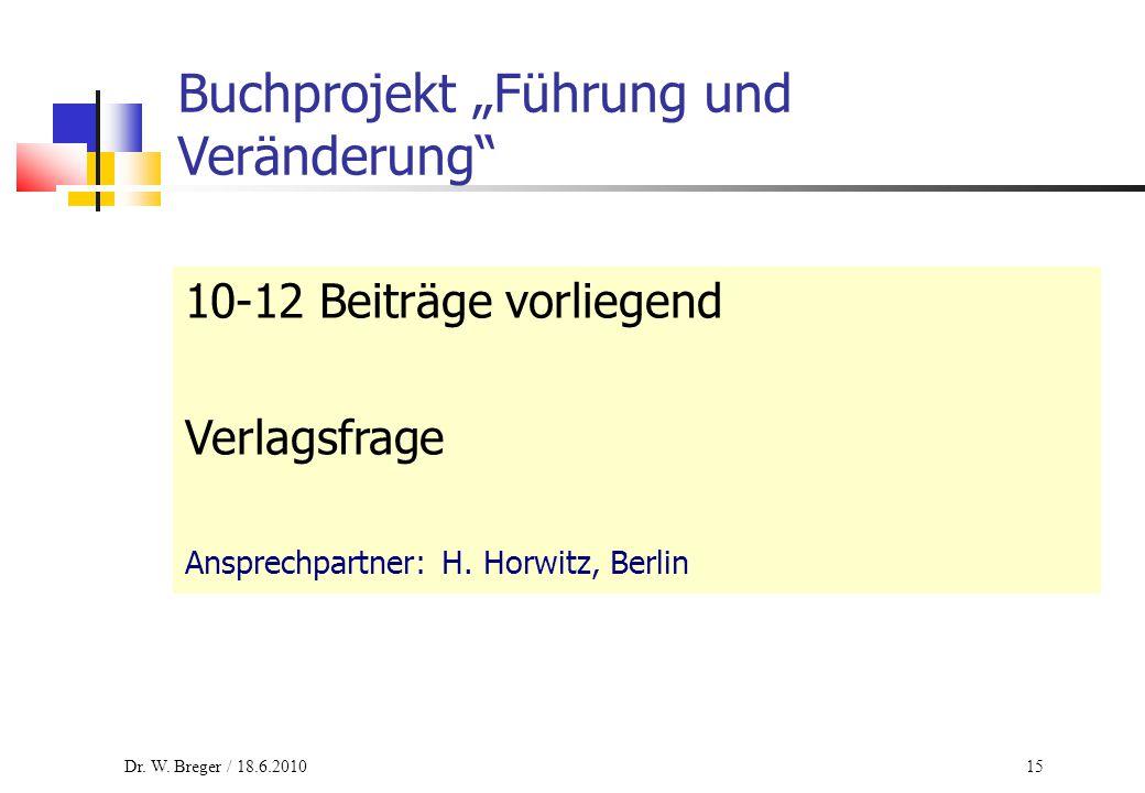 """15 Buchprojekt """"Führung und Veränderung"""" 10-12 Beiträge vorliegend Verlagsfrage Ansprechpartner: H. Horwitz, Berlin Dr. W. Breger / 18.6.2010"""