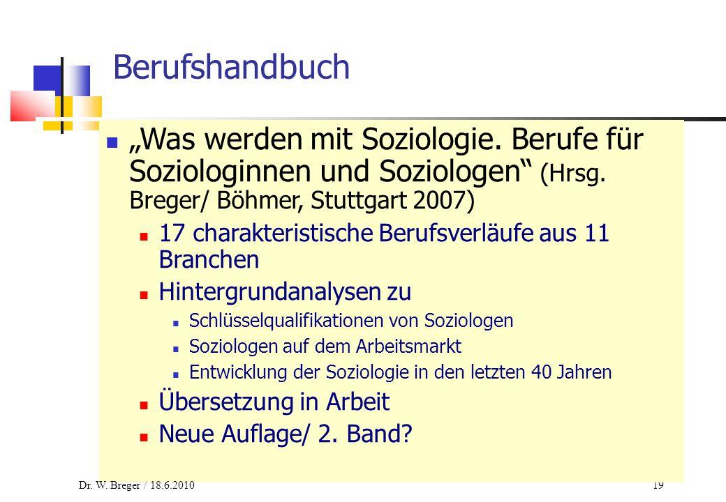 """19 Berufshandbuch """"Was werden mit Soziologie. Berufe für Soziologinnen und Soziologen"""" (Hrsg. Breger/ Böhmer, Stuttgart 2007) 17 charakteristische Ber"""