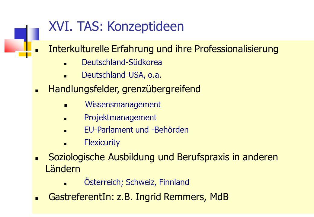 23 XVI. TAS: Konzeptideen Interkulturelle Erfahrung und ihre Professionalisierung Deutschland-Südkorea Deutschland-USA, o.a. Handlungsfelder, grenzübe