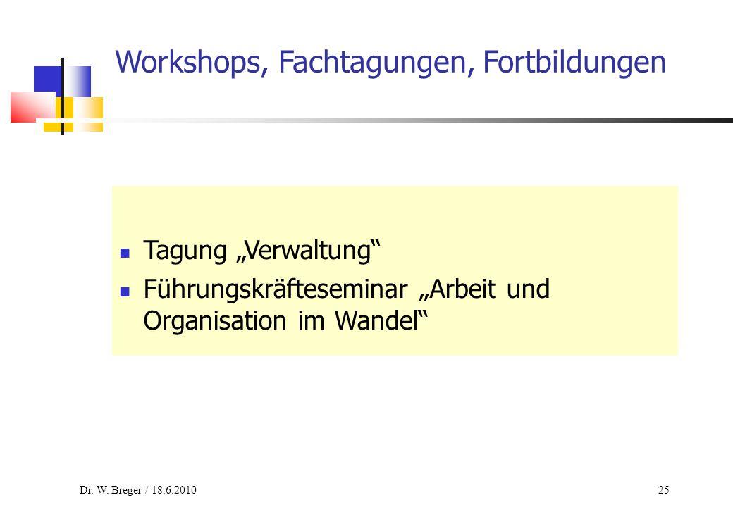 """25 Workshops, Fachtagungen, Fortbildungen Tagung """"Verwaltung"""" Führungskräfteseminar """"Arbeit und Organisation im Wandel"""" Dr. W. Breger / 18.6.2010"""