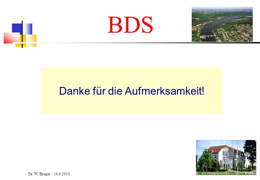 27 BDS Danke für die Aufmerksamkeit! Dr. W. Breger / 18.6.2010