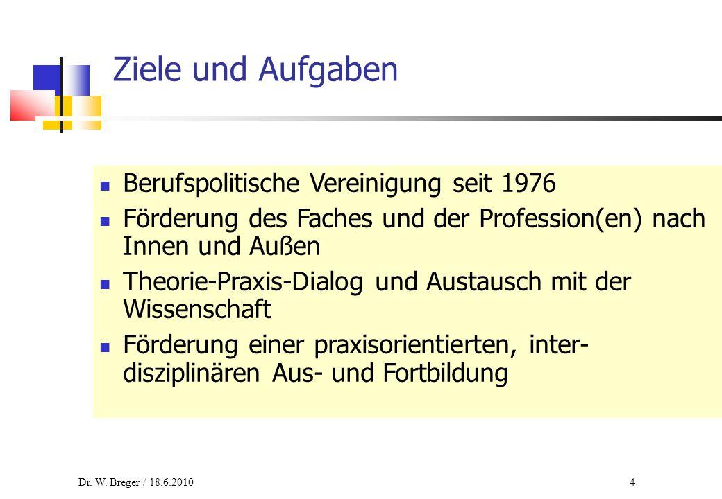 4 Ziele und Aufgaben Berufspolitische Vereinigung seit 1976 Förderung des Faches und der Profession(en) nach Innen und Außen Theorie-Praxis-Dialog und Austausch mit der Wissenschaft Förderung einer praxisorientierten, inter- disziplinären Aus- und Fortbildung Dr.