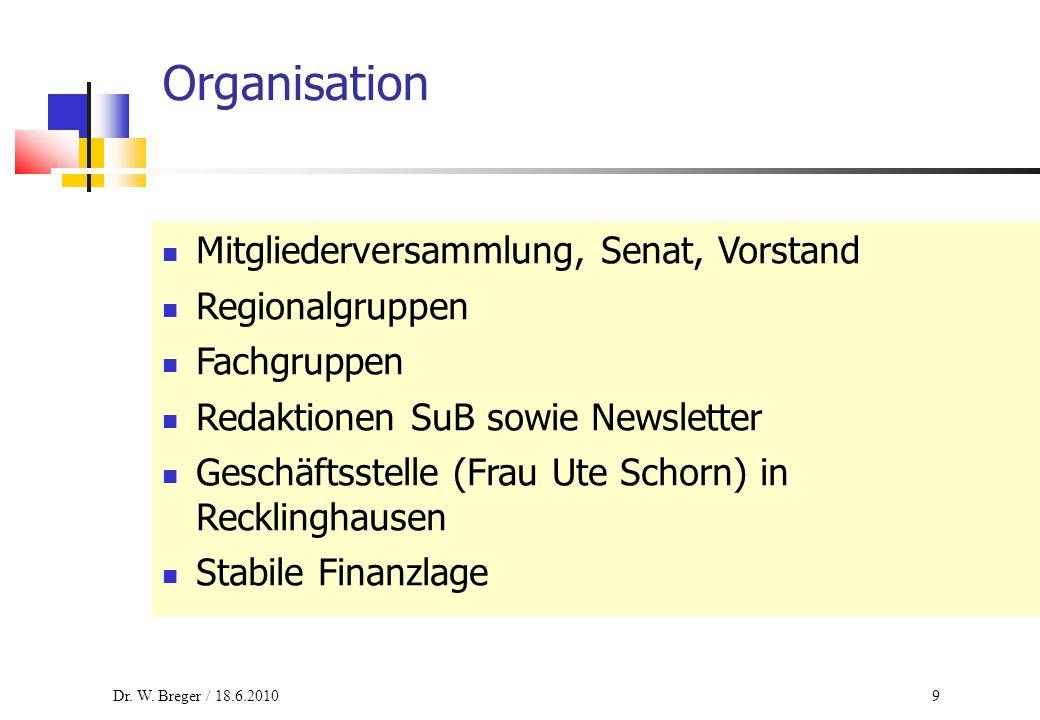 9 Organisation Mitgliederversammlung, Senat, Vorstand Regionalgruppen Fachgruppen Redaktionen SuB sowie Newsletter Geschäftsstelle (Frau Ute Schorn) in Recklinghausen Stabile Finanzlage Dr.