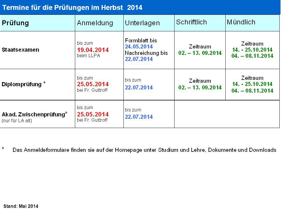 Stand: Mai 2014 Termine für die Prüfungen im Herbst 2014