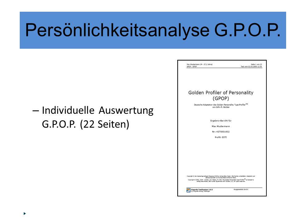 – Individuelle Auswertung G.P.O.P. (22 Seiten) Persönlichkeitsanalyse G.P.O.P.