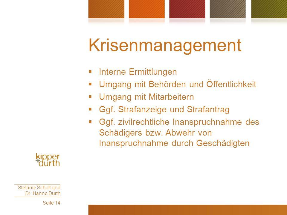 Krisenmanagement  Interne Ermittlungen  Umgang mit Behörden und Öffentlichkeit  Umgang mit Mitarbeitern  Ggf. Strafanzeige und Strafantrag  Ggf.