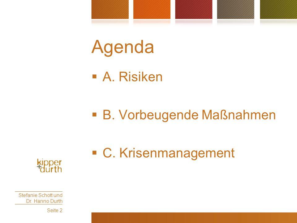 Agenda  A. Risiken  B. Vorbeugende Maßnahmen  C. Krisenmanagement Stefanie Schott und Dr. Hanno Durth Seite 2
